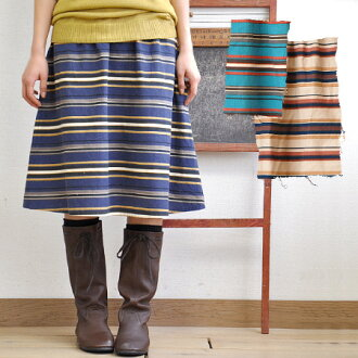 It is multi-な horizontal stripes for multi-な coordinates! Easy specifications ♪ / knee length / knee length / knee bottom length ◆ マティーコットンネルマルチボーダーミディスカート of flannel material skirt ◎ waist shirring rubber having a gentle ユーズド-like warmth
