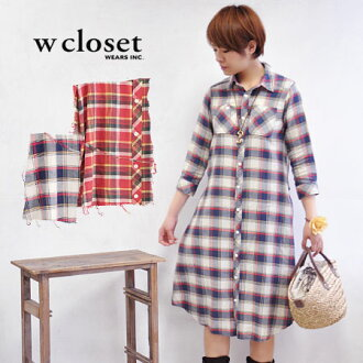 For the coat sense of the long shirt ♪ slight wound of the color みの checked pattern that is the girly who feels the gentleness though is casual as a haori ◎ / light outer ◆ w closet (double closet): Vintage Madras check shirt-dress