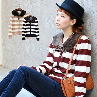 The casual 太 pace Boorda pattern cardigan with the tippet which is a lady. Wide borderlights knit cardigan with th