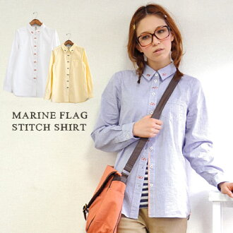 The lady's shirt which the flag pattern that was Malin was drawn by embroidery. The design ♪ / collared shirt / Lady's / Oxford shirt / plain fabric / embroidery ◆ Malin flag stitch cotton shirt which a cute design shines in in the slightly firm impressi