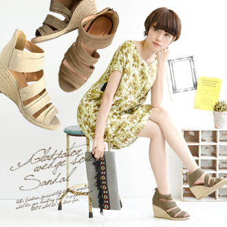 Gentle shades, comb out and meshing texture, espadrille comfort ankle cross strap sandals. Back zip in undress wear fun Chin! / born sandal / ladies / footwear / shoes / ブーサン ◆ グラディエータージュートウェッジソール sandals