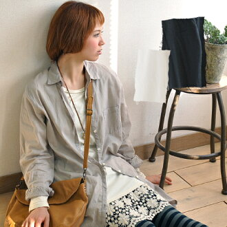 プチプライス surprise! • Light spread the width of wear simple design are many with a comfortable ガーゼロングシャツ / blouse / women's / plain / natural / sleeved ◆ アリシアコットンボイルベーシックシャツワン piece