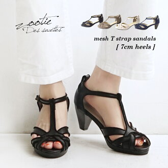 Show us beautifully feminine and delicate sandals. T with ankle strap-shaped leg effect & stability / women's shoes women's shoes ◆ Zootie ( ズーティー ): cotton mesh T strap sandals