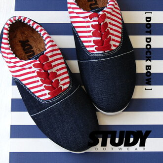 Denim x Oxford sneaker border switch design. Low-cut sneakers to simple silhouettes stand out キッズライク scheme / ladies shoes /SS1211 ◆ STUDY ( study ): DENIM DROP