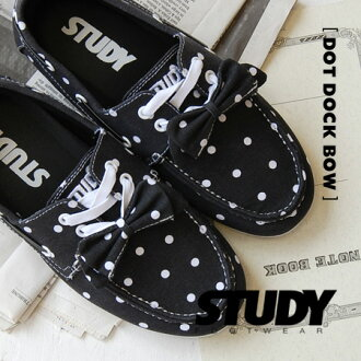 White dot pattern deck shoes can remove it to a black ground, and なりぼんを ON ♪ low-frequency cut design is mannish; CUTE/ sneakers / Lady's / waterdrop pattern / pin dot pattern /SS1214 ◆ STUDY (study): THE DOT DOCK BOW