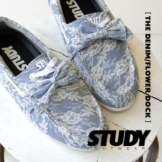 The low-frequency cut design that removable なりぼんを ON ♪ is mannish to deck shoes covered in a full-scale race ◎ / sneakers / Lady's / all-out race / flower race /SS1240 ◆ STUDY (study): THE DENIM/FLOWER DOCK