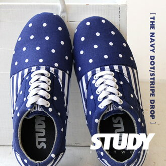 Polka dot x stripe pattern switching design Oxford sneakers. Low-cut sneakers/shoes and a simple silhouette / SS 1243 ◆ STUDY ( study ): NAVY DOT / STRIPE DROP