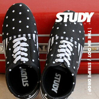 Crisp black and white polka dot combines the stripe pattern in the main Oxford sneakers. Simple, light silhouette low-cut sneakers / ladies shoes /SS1247 ◆ STUDY ( study ) THE BLACK DOT/STRIPE DROP