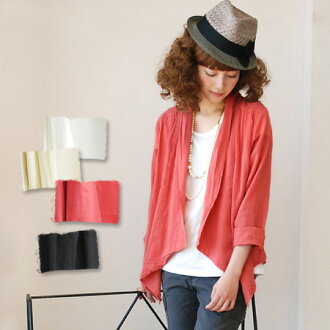 Diffrence Cardigan reception utilizing the shirt fabric with light waves. Understated sweetness slightly sheer back top inner race ◎ / thin / coat / ladies ' ◆ クレープコットンインサイドレー Stoppers t-shirt