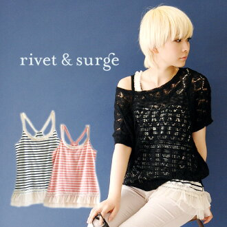 To the shoulder strap lots of tulle ruffles. Polka dot x Y back tank top plain luxury hem lace go sweet Kazi style come true! / ladies ◆ rivet and surge (rivet & surge): flockheedttullebordercamisole