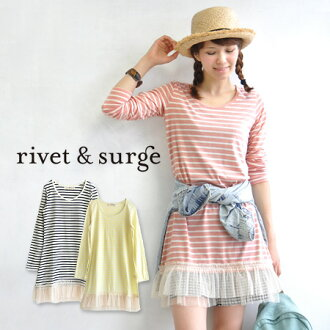 Long sleeves horizontal stripes tunic of a moderate space. By the luxurious hem race errand of the dot pattern X plain fabric in petticoat one piece ◎ / spring one piece ◆ rivet and surge (rivet and serge): Flocky dot Tulle horizontal stripe one piece