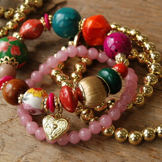 Ethnic big colorful stone bracelet and gold Rosary bracelet, etc. Affordable bracelets became a 4 book set. Each single use is OK: wood beads and accessories / ◆ アラリアストーンビーズ bracelet set