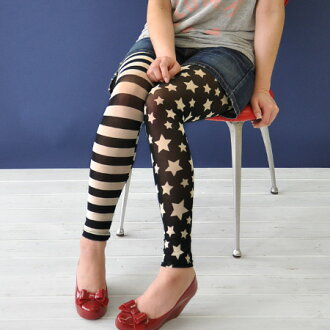 The individual star X horizontal stripes leggings that Star-Spangled Banner pattern finishes horizontal stripes, the left foot as for the right foot if patterned stars, both legs are prepared! / American / footwear / socks / stockings ◆ monotone USA flag leggings