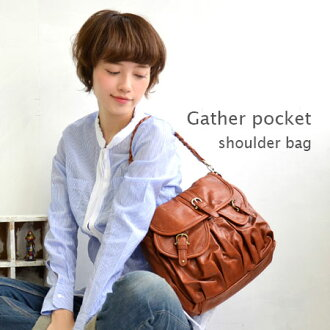 It is the multi-bag with the large-capacity flapped pocket of the form plumply. It is / slant credit / shawl /fs3gm ◆ gathers pocket glossy gross 2WAY shoulder bag at ◎ / 合皮 / bag / bias for commuting attending school from outing at a feeling of that is