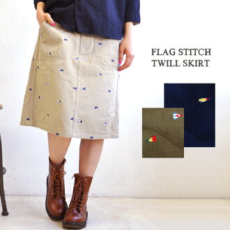 The small trapezoid skirt which the pair of the whole pattern design is easy to dress well to the flag design ♪ twill material which there is a feeling of work slightly which was drawn by embroidery. The waist is easy specifications ◎ / knee length / knee-length / midi length ◆ mini-flag stitch twill midiskirt of the 後 ろ rubber