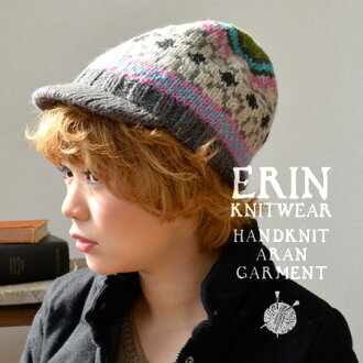 Colorful collar with knit hat. Hat woven from 100% wool with firm-textured yarn. Fleece-lined, very warm! / Women 's/Alan NET ◆ Erin Knitwear (ellinnitware) Fair Isle knit Cap