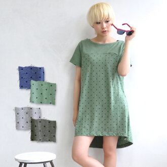 Switched in plain neckline full width polka-dot pattern チュニックワンピ. Your color scheme merely arguing polka dot and moderate in gentle impression / women's / Short Sleeve Tee/T one piece / ヘムアーチ / chest pocket / spring Gaultier ◆ パネルドット boat neck T shirt dr
