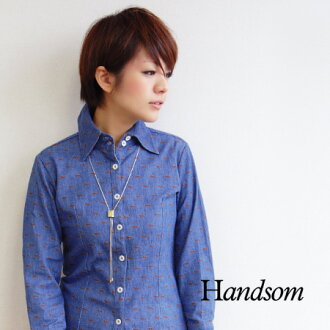 Sukkiri slender little lion motif printed on denim. Tack like a stuffed body in West line clearly! / Long sleeve / ladies ◆ Handsom ( handsome ) LION PRINT SHIRT
