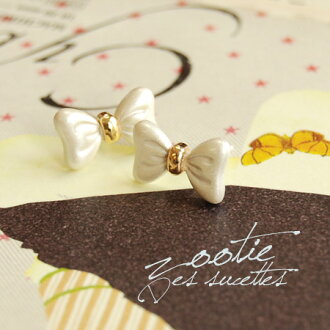 Elegant shiny Ribbon motif stud earrings. But small puffy boobs give UP women casually they in three-dimensional Ribbon plump ear accessories/catch type/mini size ◆ Zootie ( ズーティー ): silky Ribbon earrings