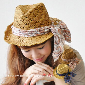 The soft cap which wound up an ethnic scarf streaming in wind flutteringly is this affordable price! Handmade product HAT/ straw hat style / Lady's ◆ paisley ribbon scarf paper soft felt hat hat superior in breathability in a tender paper material knit r