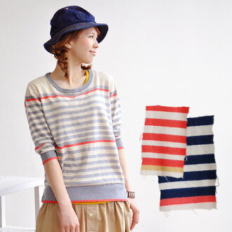 Touching the skin comfortable, 100% cotton knit border pattern pullover. In silhouette you can afford moderately good for main ◎ / women / knitwear / thin / tucks / crew neck and neck ◆ ラインパネルボーダーコットン knit sweater