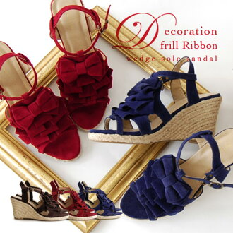 That decorative frills pumps peep toe design strap sandals! In adults, freshness and color classic and espadrille MIX / shoes / footwear ◆ デコレフリルリボンジュートウェッジソール sandals