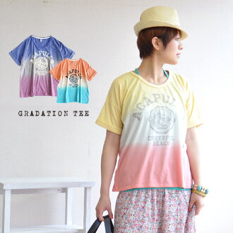 The dolman sleeve style short sleeves cut-and-sew ◆ gradation border dropped shoulder sleeve emblem T-shirt which it-like, transformation Lady's Tee ◎ resort wants to dress well to the & back side relaxedly which was able to knock a vintage-like logo