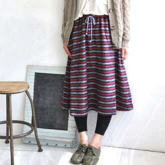 Warm soft brushed wool mix skirt. フォークロアカジュアル and Tyrolean tape pocket and colorful laces A line knee-length skirt and border pattern / knee-l