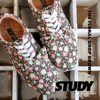 The Oxford sneakers which drew a bright rose on the entire surface in calm brown. Low-frequency cut shoes / Lady's / rose pattern / floral design / Rose pattern /STYFW1208 ◆ STUDY (study) THE FLORAL DROP with ribbon to a simple, light silhouette