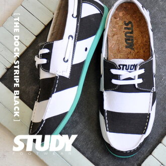 Sole is the wide stripe pattern deck shoes arranged colors of the neon color. りぼんを ON ♪ low-frequency cut design is mannish; CUTE/ sneakers / Lady's / monotone / wide horizontal stripes /STY FW1211 ◆ STUDY (study) THE BLACK STRIPE DOCK