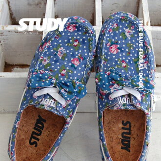 The flower pattern deck shoes which were studded with the waste flowers which were generous in the blue place. Removable なりぼんを ON ♪ low-frequency cut design is mannish; CUTE. / sneakers / Lady's / floret pattern /STY FW1218 ◆ STUDY (study) THE FLORAL DOC