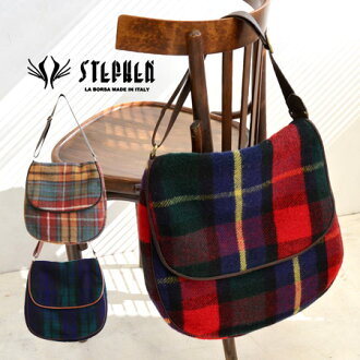 One shoulder bag designed by United Kingdom-style Plaid and leather, heavy metal. Large fits easily fits into the A4 magazine • angled loveseat /Italy / / also ◆ STEPHEN (Stefan) TWEEDMILL ウールチェックショルダー bag