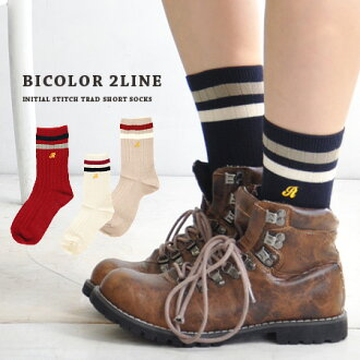"""The middle length socks which accentuate that ♪ which embroidery of line &"""" R of the School Girl style has a cute is traditional fashion just to wear it. Fit it well; 2 sense of stability ◎ / shortstop socks / footware / Lady's / woman socks ◆ a"""
