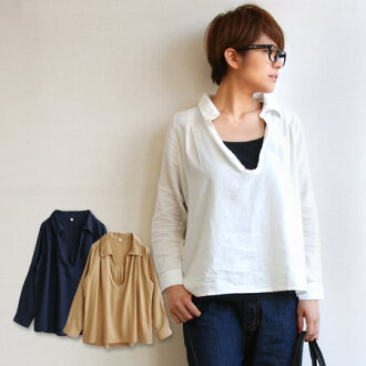 "It is the ""kept"" skipper shirt tunic / Lady's / long sleeves / plain fabric / white shirt ◆ flannelette cotton twill henley neck skipper shirt with the button to the atmosphere ♪ neckline which a natural cotton material with the raised feeling"