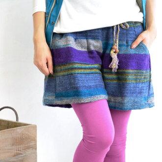 Border pattern using the gradation Jan culotte panties. Ethnic sense of the code is easy to take looks slim legs wide silhouette/women 's/westergom ◆ Patel Bader culotte panties