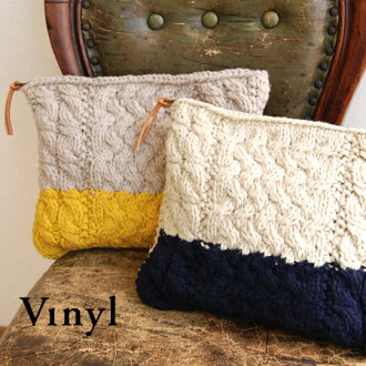 Large bicolor design with thick yarn loosely woven, the porch. Barely fit A4 paper size of bag / bag / bag /v091205 ◆ Vinyl ( vinyl ) ケーブルニット clutch bag