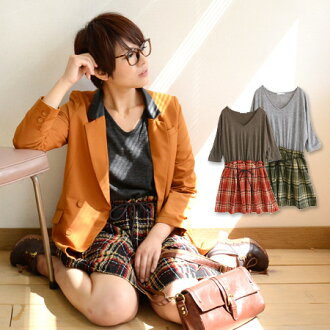 The waist change dress of a checked pattern skirt letting a simple knit pullover feel depth. The browsing is sleeve ◆ V neck knit so X fancy weaving check skirt docking one piece with a waist with rubber & string for ◎ / three-quarter sleeves /7
