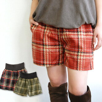 The short pants which I sewed with fabric cloth of checked pattern letting you feel depth. As for the waist rubber, light movement of relaxing is ◎ / shortstop length / Lady's ◆ fancy weaving check waist rib culottes underwear the wide rib specifications