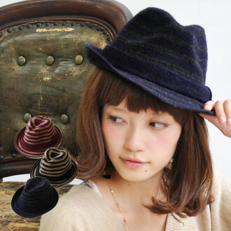 The soft cap which I prepared with the tender wool knit which I raised softly. The knit hat /HAT ◆ horizontal stripe wool knit soft felt hat hat where is recommended in adult-style with chic calm