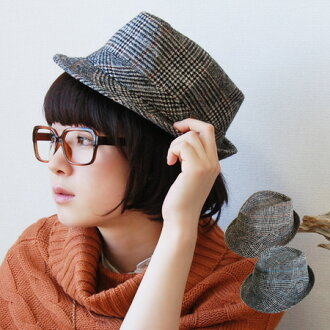 "Even highly recommended at this season of the ""nostalgic"" for Middle! Glen check pattern HAT Uncle-style code must be! NEP feeling plenty of fabric day! lump 中おれ Hat makes you feel winter ◆ Glen check Tweed Hat"