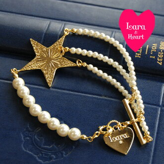 The bracelet that the pearl beads which are a lady in a pop star motif are refined. Of course it is ◎ / banquet / second party / jewelry / gold ◆ Lara & Heart (LARA and heart) star pearl bracelet in daily in the party four circle scenes such as wedding ceremonies