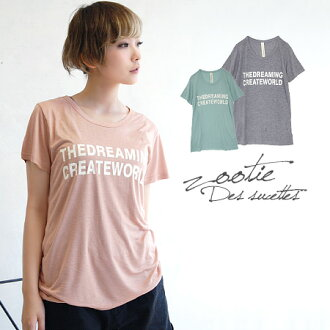 Terron and fall of rayon fabric feminine line to produce fine body & elbow-length short Sleeve Tee. Enjoy the simple logo, comes in one piece summer tunic t-shirt ◆ Zootie ( ズーティー ): DREAMING CREATE WORLD T shirt