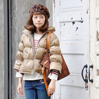 The down blouson which was sewed in A-line like the ♪ woman fresh shortish length. Jacket ◆ is special for 70% of down, light, warm real down outer / plain fabric / Lady's / three-quarter sleeves /7 of 30% of feathers in sleeve / spri