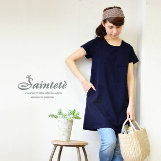 Is short sleeve and chest position switching effect in sukkiri worn loose simple ショートスリーブワンピ plain /DT033 A line / chest pocket spring dress ◆ Saintete ( サンテテ ): ヘヴィーウエイトスウェット chest switch one piece [sleeve]