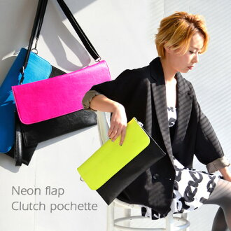 The mini-shoulder bag of the two-tone color that the neon color of the flap attracts an eye. It is / slant credit / combination color / porch ◆ by color 2WAY clutch pochette at the clearly square model fake leather bag / bag / bias that there is not of t