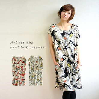 Map pattern piece a little bit retro, a classy touch. Without switching sleeve short sleeve Dolman & slightly raised sewn fabrics so long season can be used: French sleeve / knee /-◆ アンティークマップウエストタックニットソーワン piece