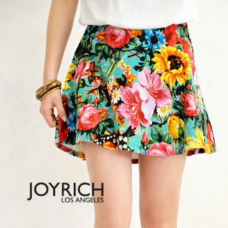 Colorfully painted large florals such as sunflower saryu 'サンライズブロッサム' pattern miniskirt. Thin corduroy material / mini-/JOY-F1302SK beautiful like Hari flares to draw ◆ JOY RICH ( Mickey Mouse No1 ) Sunrise Blossom Circle Skirt