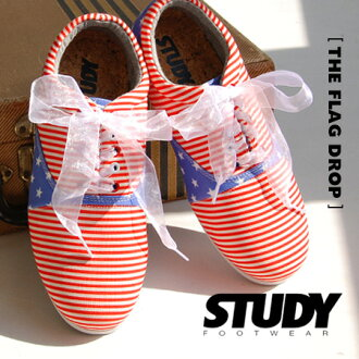 Organza Ribbon with a red shoe laces with change can be a 2-WAY! Oxford Shoes sneaker simple low-cut American flag flat pettanko pettanko Orthotics • STUDYTHE FLAG DROP