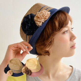 Brooch-type removable flower corsage hat. Edgy accent tuba becomes color, line also entered the top design/UV measures / tanning / awnings / UV / natural material ◆ corsage バイカラーラフィア Hat