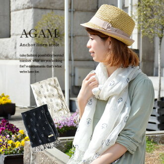 Ikari sweet print studded woven linen 100% light scarf. Just wrap in Hari's linen or linen-like, soft volume and import / thin / UV protection/UV measures ◆ AGAM ( Agam ) アンカープリントリネン gauze scarf